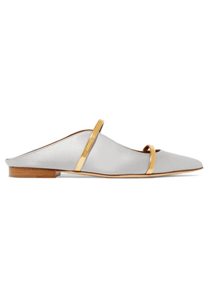 Malone Souliers - Maureen Metallic Leather-trimmed Satin Point-toe Flats - Light gray