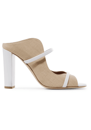 Malone Souliers - Norah 100 Leather-trimmed Linen Mules - Neutral