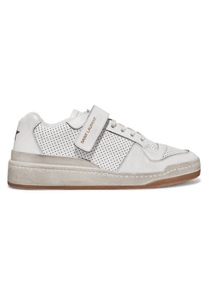 SAINT LAURENT - Travis Logo-print Distressed Perforated Leather Sneakers - White