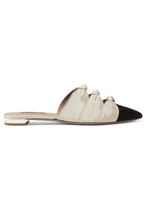 Aquazzura - Mondaine Two-tone Knotted Faille Slippers - Black
