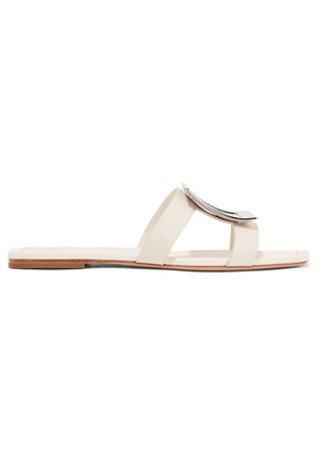 Roger Vivier - Biki Viv Embellished Leather Slides - Cream