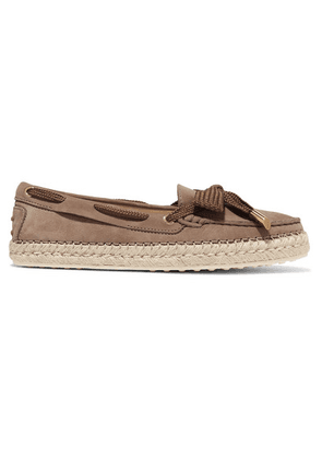 Tod's - Gommino Bow-detailed Nubuck Espadrilles - Brown
