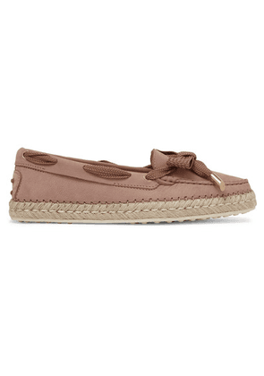 Tod's - Gommino Bow-detailed Nubuck Espadrilles - Blush