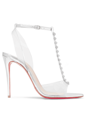 Christian Louboutin - Jamais Assez 100 Spiked Pvc And Metallic Leather Sandals - Silver