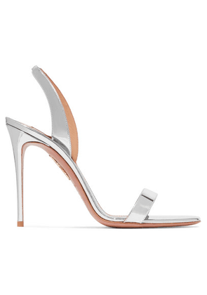 Aquazzura - So Nude 105 Metallic Leather Slingback Sandals - Silver