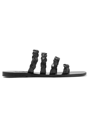 Ancient Greek Sandals - Kynthia Braided Leather Sandals - Black