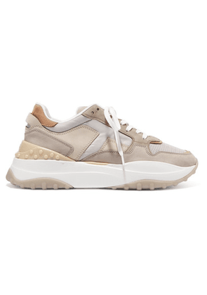 Tod's - Leather, Mesh And Nubuck Sneakers - Gray