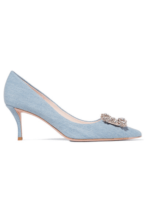 Roger Vivier - Flower Crystal-embellished Denim Pumps - Light denim