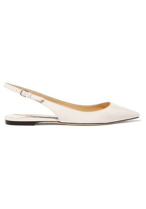 Jimmy Choo - Erin Patent-leather Slingback Point-toe Flats - White