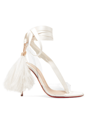 Christian Louboutin - Marie Edwina 100 Feather-trimmed Satin And Pvc Sandals - White