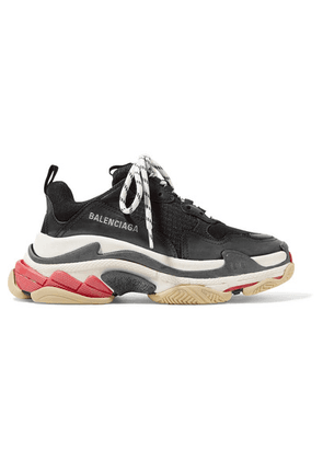Balenciaga - Triple S Logo-embroidered Leather, Nubuck And Mesh Sneakers - Black