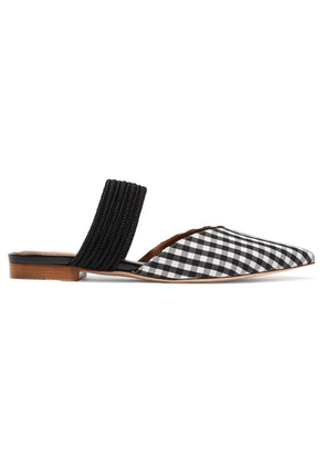 Malone Souliers - Maisie Luwolt Cord-trimmed Gingham Canvas Mules - Black