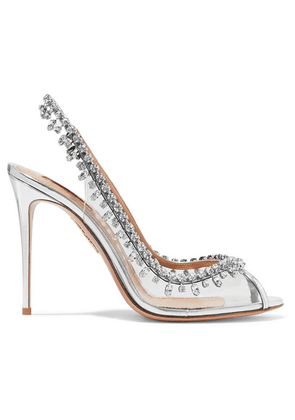 Aquazzura - Temptation 105 Embellished Metallic Leather And Pvc Slingback Pumps - Silver