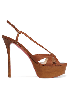 Christian Louboutin - Veracite 130 Leather Platform Sandals - Tan