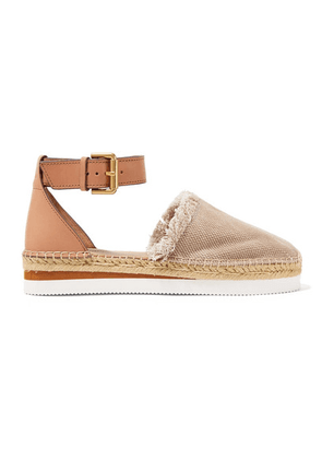 See By Chloé - Leather And Canvas Platform Espadrilles - Mushroom