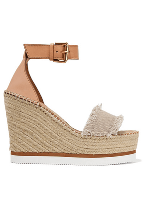 See By Chloé - Canvas And Leather Espadrille Wedge Sandals - Beige