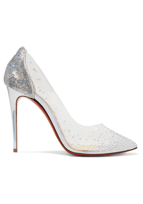 Christian Louboutin - Degrastrass 100 Embellished Pvc And Leather Pumps - Silver