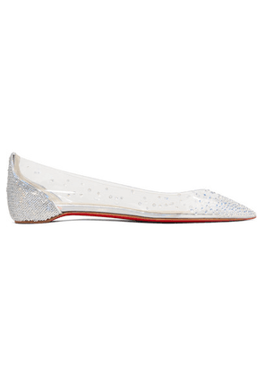 Christian Louboutin - Degrastrass Embellished Pvc And Leather Point-toe Flats - Silver