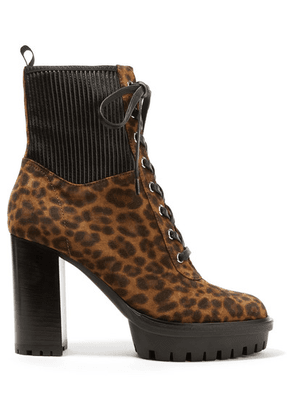 Gianvito Rossi - 90 Leather-paneled Leopard-print Suede Ankle Boots - Leopard print