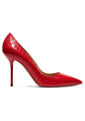 Aquazzura - Purist 95 Croc-effect Leather Pumps - Red