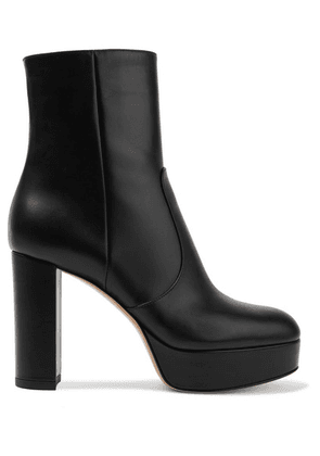 Gianvito Rossi - 100 Leather Platform Ankle Boots - Black