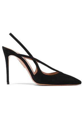 Aquazzura - Soul 105 Suede Slingback Pumps - Black
