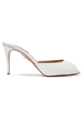 Aquazzura - Samantha 85 Croc-effect Leather Mules - White