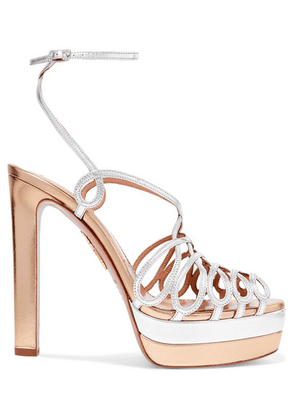 Aquazzura - Monroe Plateau 130 Two-tone Metallic Leather Platform Sandals - Gold