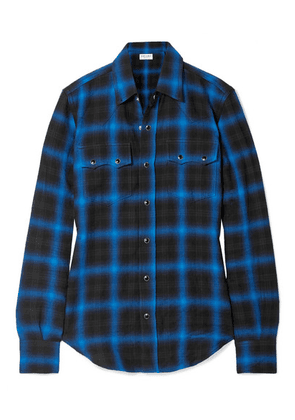 SAINT LAURENT - Checked Cotton-blend Flannel Shirt - Black
