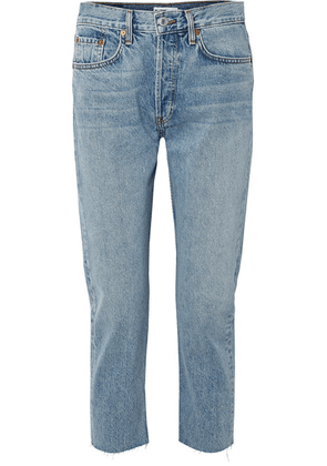 RE/DONE - Cropped Mid-rise Slim Boyfriend Jeans - Mid denim