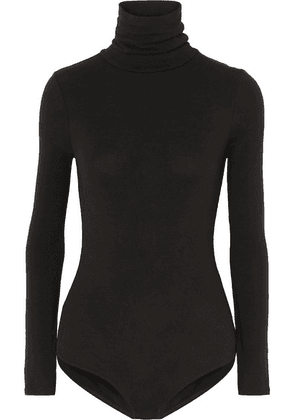 Madewell - Renay Stretch Cotton-blend Jersey Turtleneck Bodysuit - Black