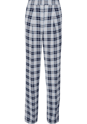MICHAEL Michael Kors - Checked Crepe Straight-leg Pants - Navy
