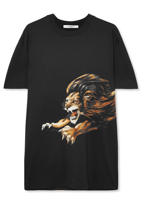 Givenchy - Leo Oversized Embroidered Printed Cotton-jersey T-shirt - Black