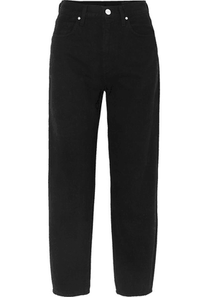 Goldsign - The Curved Cropped High-rise Tapered Jeans - Black