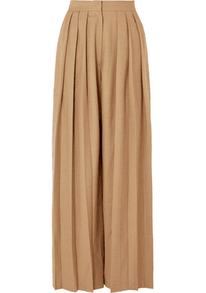 MATÉRIEL - Triple Pleat Wool-blend Wide-leg Pants - Beige