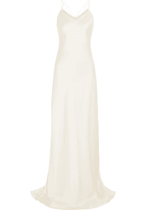 Halfpenny London - Luella Organza-trimmed Satin Gown - White