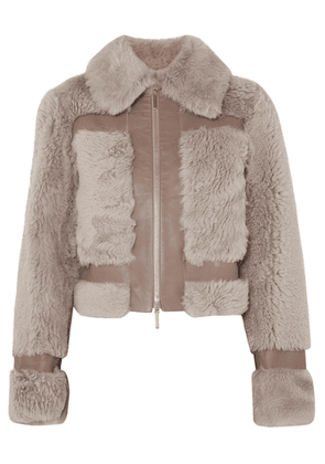 Zimmermann - Fleeting Paneled Leather And Shearling Jacket - Beige