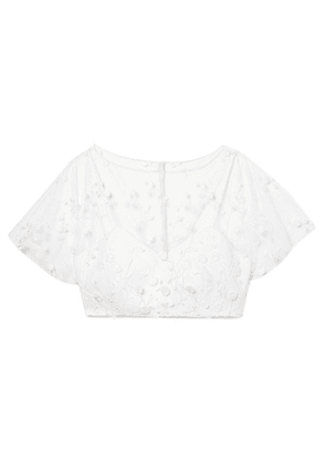 Rime Arodaky - Arwen Cropped Embroidered Tulle And Crepe Top - White