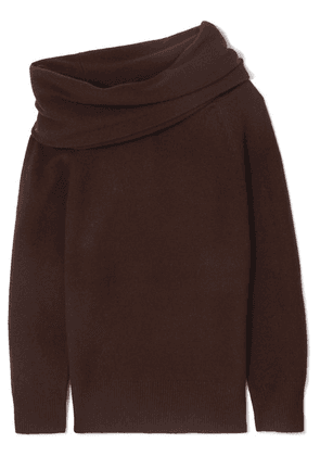 Joseph - Draped Off-the-shoulder Wool-blend Sweater - Brown