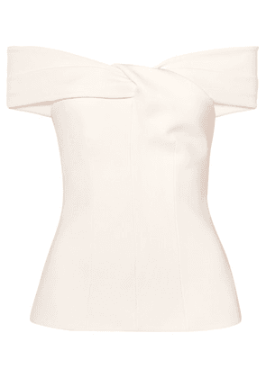 Safiyaa - Off-the-shoulder Twist-front Crepe Top - Ivory