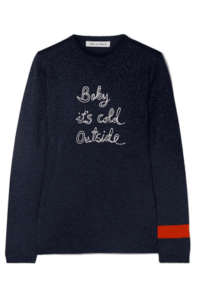 Bella Freud - Baby It's Cold Outside Embroidered Metallic Wool-blend Sweater - Navy