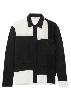 JW Anderson - Paneled Crepe De Chine, Cotton And Washed-satin Shirt - Black