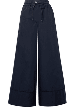 Sacai - Shell-trimmed Poplin Wide-leg Pants - Midnight blue