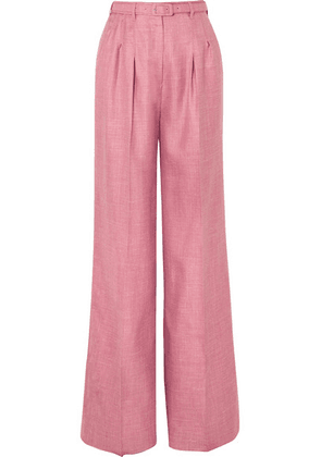Gabriela Hearst - Vargas Wool, Silk And Linen-blend Wide-leg Pants - Pink