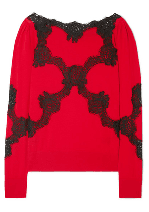 Dolce & Gabbana - Lace-trimmed Wool-blend Sweater - Red