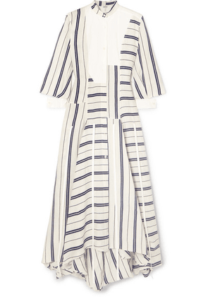 Loewe - Asymmetric Striped Linen And Cotton-blend Maxi Dress - White