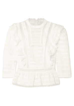 Zimmermann - Allia Ruffled Lace-trimmed Linen-gauze Top - Ivory