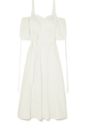 Loewe - + Paula's Ibiza Cold-shoulder Striped Linen-blend Gown - White