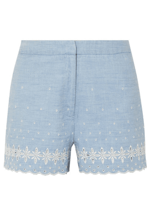 J.Crew - Broderie Anglaise Cotton-chambray Shorts - Blue