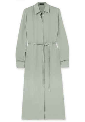 Theory - Belted Silk Crepe De Chine Dress - Green